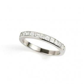 18k White Gold Princess & Carre Cut Diamond Half Eternity 0.30ct Total, G/H Colour, SI Clarity,